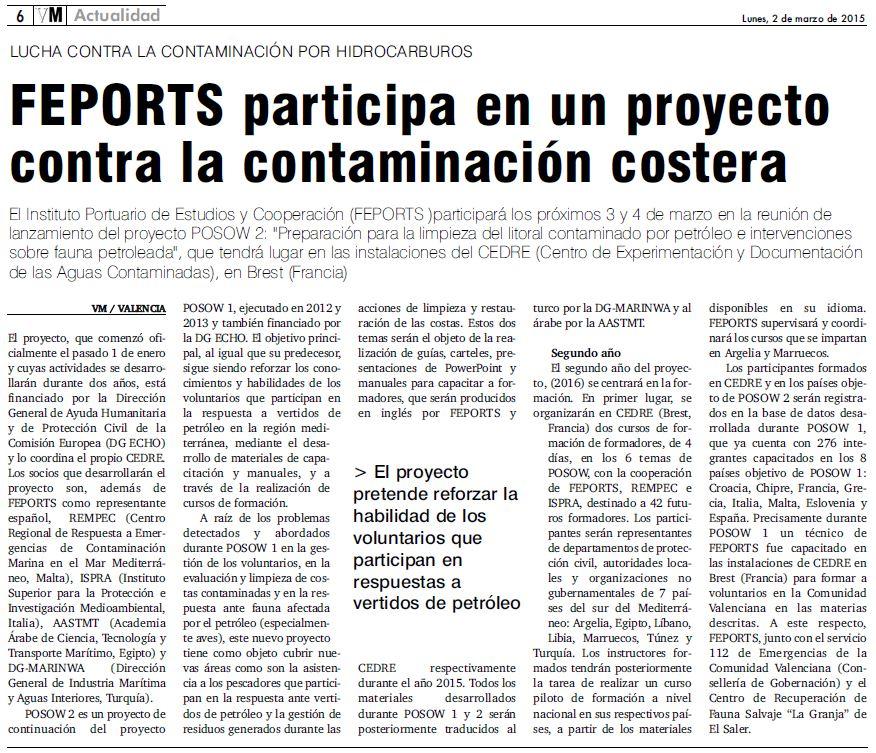 Valencia Maritima FEPORTS Press release March 2015